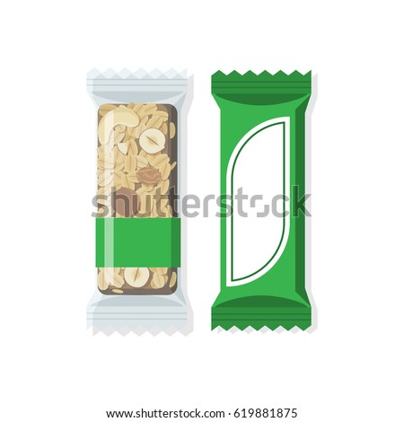 Vector granola bar in bright and transparent packing. Flat styled food illustration. Healthy lifestyle concept.
