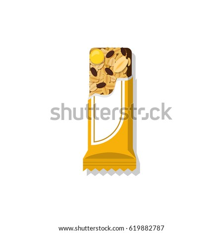 Vector granola bar in bright packing. Flat styled food illustration. Healthy lifestyle concept.