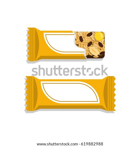 Vector granola bar in bright wrapping. Flat styled food illustration. Healthy lifestyle concept.