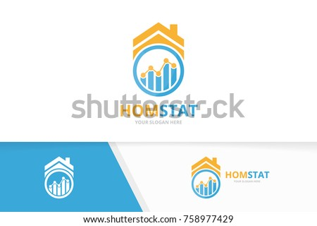 Vector graph and real estate logo combination. Diagram and house symbol or icon. Unique chart and rent design template.