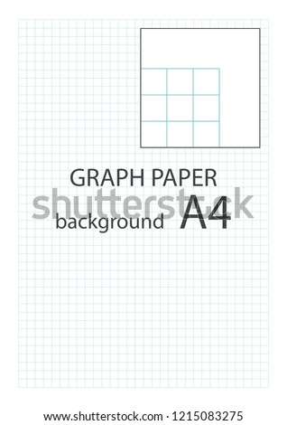 Vector graph paper background with built centimeter grid, centimeter cell. Vector illustration.