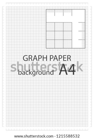 Vector graph paper background with built millimeter grid, А4 millimeter ruler, millimeter cell. Vector illustration.