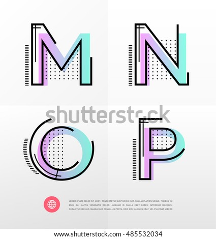 Vector graphic alphabet in a set, with modern, minimal style