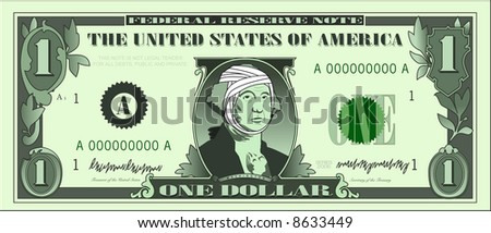 vector graphic depicting a dollar bill parody