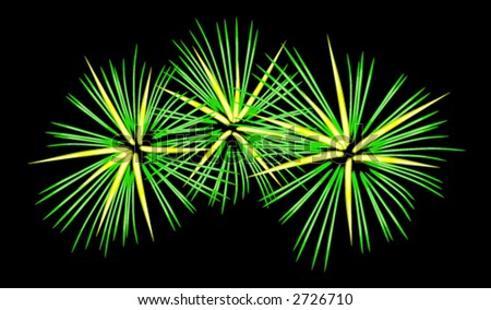 picture of fireworks display. hair of fireworks is having a