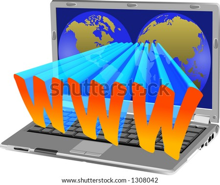 vector graphic depicting a laptop computer (concept: WWW)