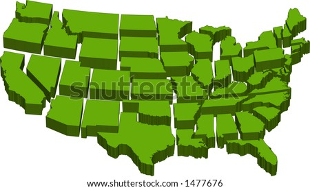 vector graphic depicting a map of the U.S. with separate individual states