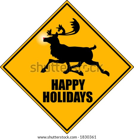 "vector graphic depicting a ""reindeer crossing"" road sign"