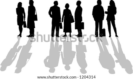 vector graphic depicting three groups of people in silhouette