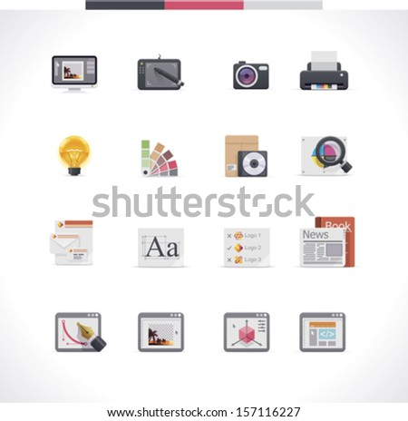 Vector graphic design and publishing icon set