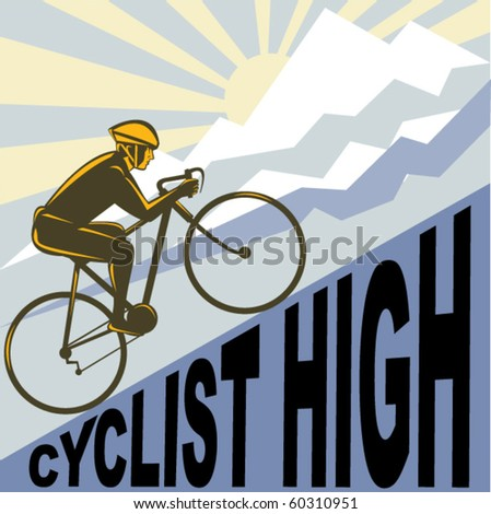 vector graphic design illustration of a Cyclist racing bike up steep mountain and clouds sunburst done in retro WPA style.