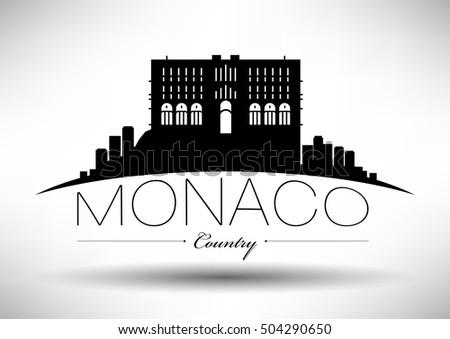 Vector Graphic Design of Monaco City Skyline