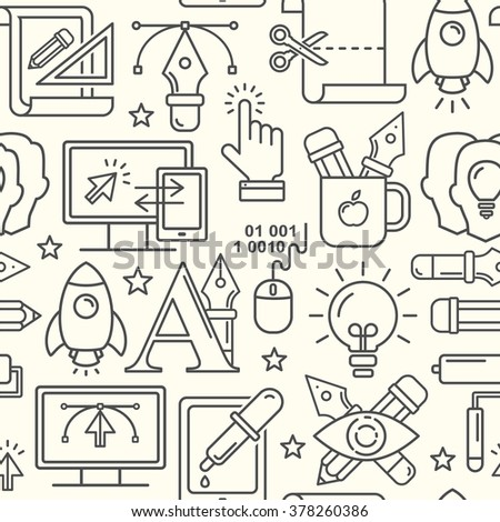 Vector graphic design seamless pattern with grey linear icons. Line style designer background with place for text.