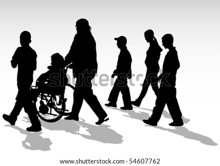 Vector graphic disabled and women on a walk. Silhouettes of people