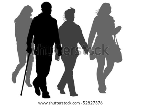 Vector graphic disabled and women on a walk. Silhouettes on a white background