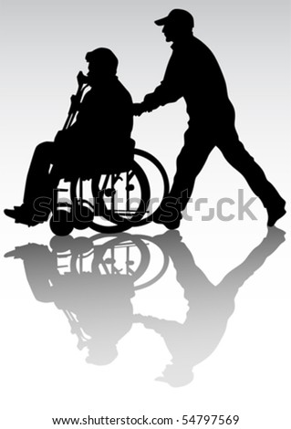 Vector graphic disabled on a walk. Silhouettes of people