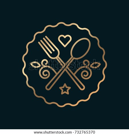 Shutterstock Vector graphic, elegant line art gastronomy icon / Cookery and flower ornaments