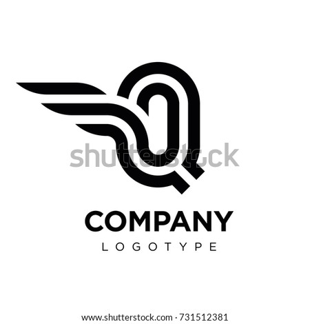 Vector graphic elegant logotype with wing / Letter Q