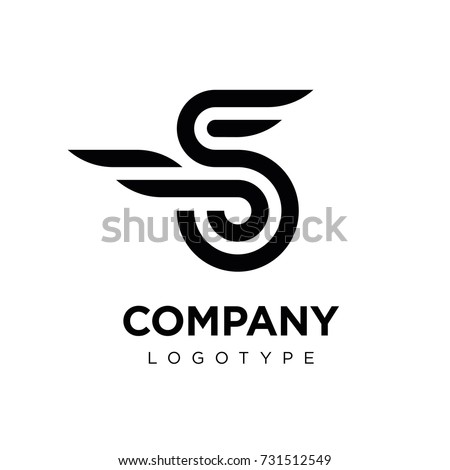 Vector graphic elegant logotype with wing / Letter S