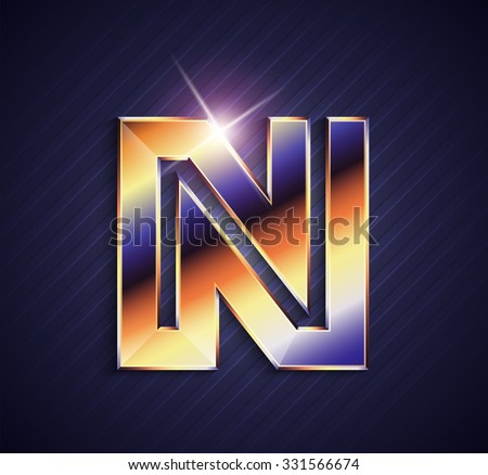 N Alphabet Letter Logo In Gold Golden 3d Metal Beautiful Typography