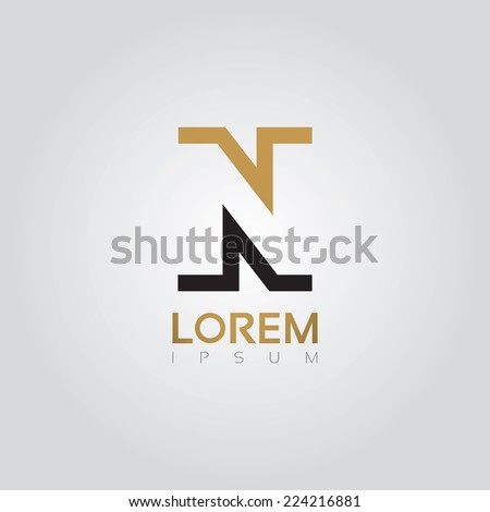 Vector graphic elegant silhouette alphabet symbol in two colors / Letter N Foto stock ©