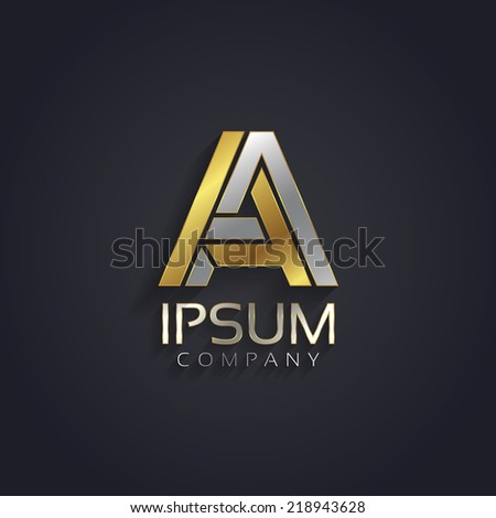 Vector graphic elegant silver and gold impossible font / symbol / alphabet / Letter A