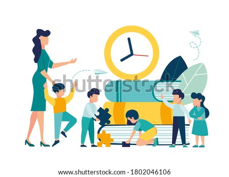 vector graphic elements, teaching children to acquire knowledge from books, educator teaches children, play and communication at recess vector