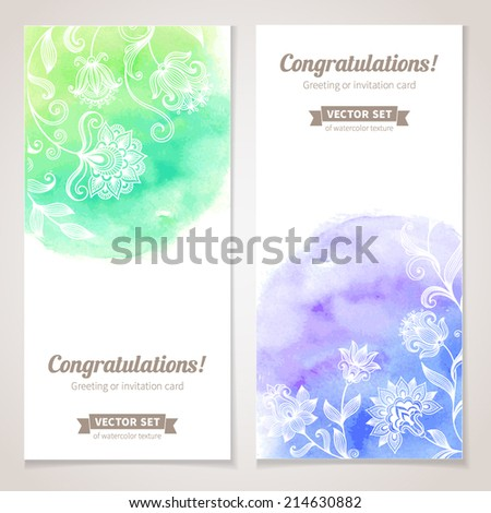 Vector graphic flowers collection with watercolor texture Colorful banners for your design of invitation or greeting cards