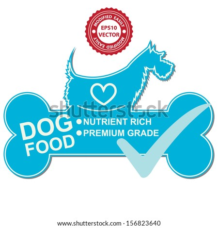 Vector : Graphic For Pet Business Present by Dog Food Text, Nutrient Rich and Premium Grade on Blue Dog Food Sign With Check Mark Isolated On White Background