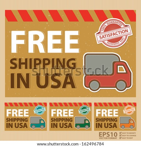 Vector : Graphic For Promotional Sale or Marketing Campaign Present By Set of Vintage Style Free Shipping in USA Postcard With Lorry or Truck Sign and 100 Percent Satisfaction Guarantee Stamp