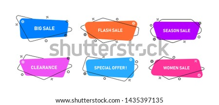Vector Graphic Geometric flat banners. Modern abstract shapes for sale promotion. Background for graphics sale banner.