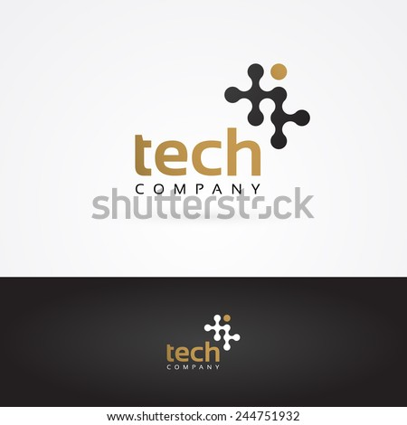 Vector graphic geometric tech symbol in gold and grey