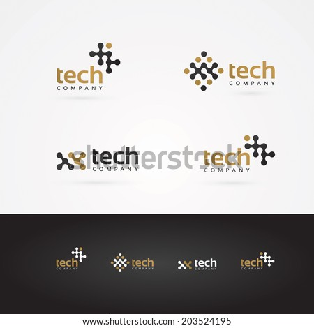 Vector graphic geometric tech symbol in gold and grey for your company
