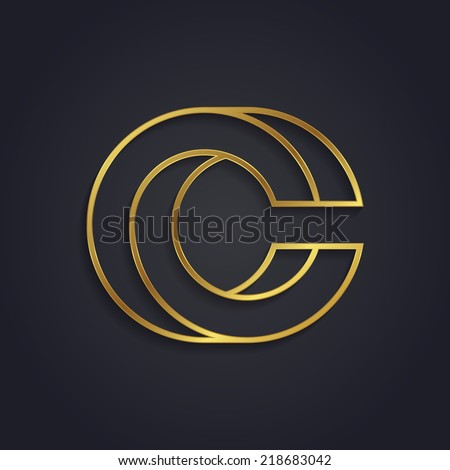 Vector graphic gold alphabet / impossible letter symbol / Letter C