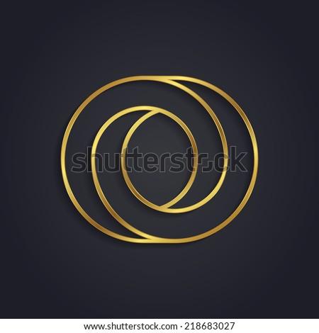 Vector graphic gold alphabet / impossible letter symbol / Letter O