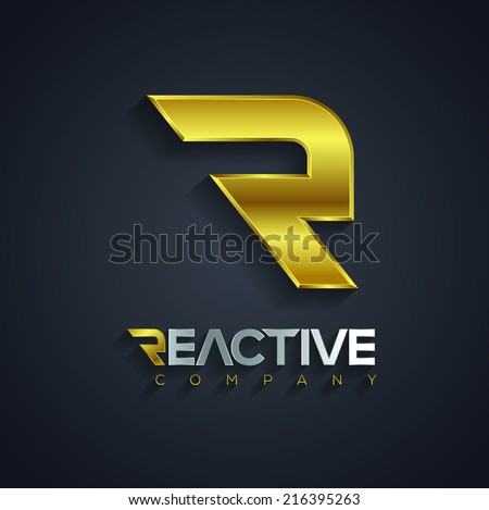 Vector graphic golden and silver R letter symbol for your company with Reactive sample type