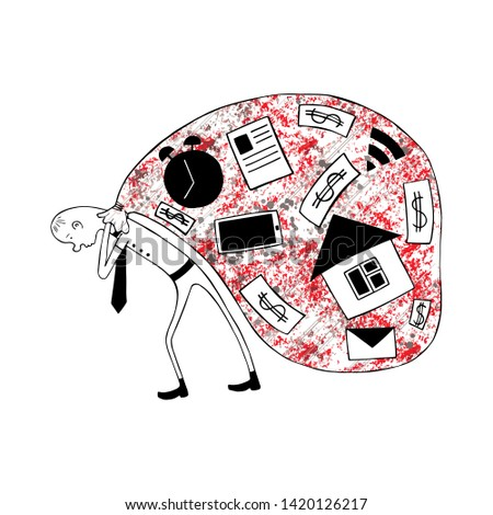 Vector graphic hand drawn Sarcastic, ironic, funny illustration of tired business man, symbol of fatigue, despair, unhappy, busy life. Demotivator, fun doodle sketch style, black white red colors.