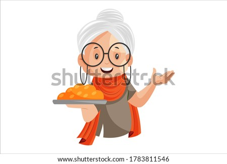 Vector graphic illustration. Grandmother is holding sweet plate in hand. Individually on a white background.
