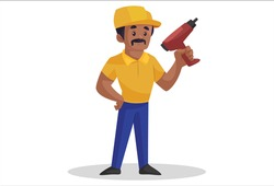 Vector graphic illustration. Indian builder is holding a drill machine in hand. Individually on a white background.
