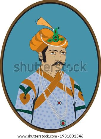 Vector graphic illustration. King Akbar . Mughal Emperor  Сток-фото ©