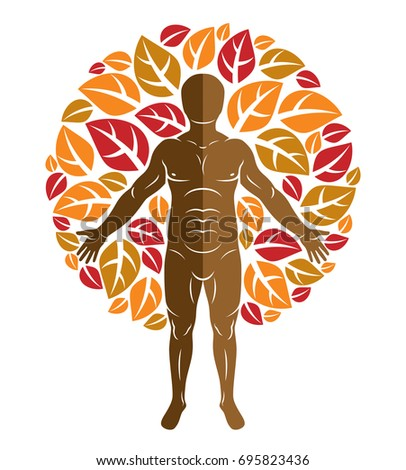 Vector graphic illustration of muscular human, self created with autumn tree eco leaves. Living in harmony with nature, environment protection concept.
