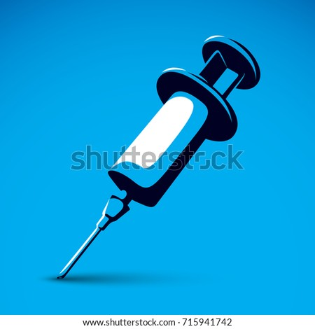 Vector graphic illustration of plastic disposable syringe for medical injections. Get vaccinated idea