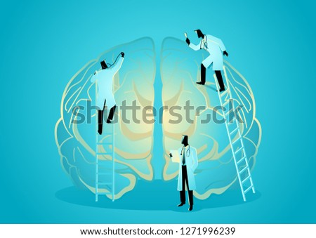 Vector graphic illustration of team of doctors diagnose human brain. Neurologist Concept
