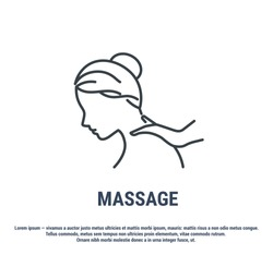 Vector graphic illustration on a white background. Concept icon in line design. Back massage. Massage services. Wellness massage. Relaxation. Symbol, sign, logo, label, emblem.