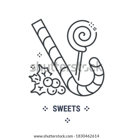 Vector graphic illustration on a white background. Concept icon in linear design. Christmas sweets. Symbol, sign, logo, emblem. Stockfoto ©