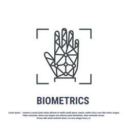 Vector graphic illustration. Set line icons. Palm print Identification. Outline design. Biometrics authorization. Person Recognition key. Digital access system. Cyber security. Web Sign, symbol.