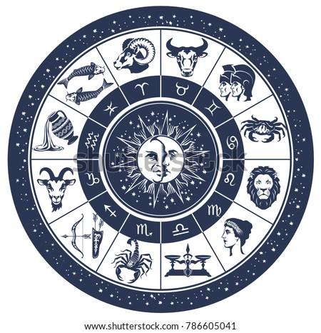 vector graphic illustration - zodiac astrology circle with zodiac signs. Aries, Taurus, Gemini, Cancer, Leo, Virgo, Libra, Scorpio, Sagittarius, Capricorn, Aquarius, Pisces.