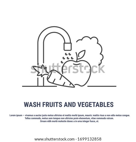 Vector graphic. Line, outline design icon on a white background. Food hygiene. Need to wash vegetables and fruits. Precautions. Disinfection of fruits and vegetables. Editable Stroke. Symbol, sign.
