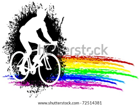 Vector graphic male on a bicycle. Silhouette on rainbow background