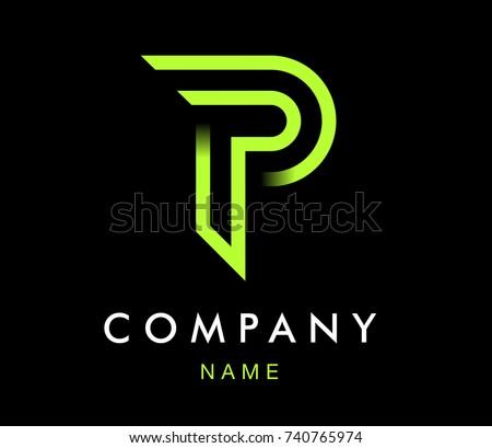 vector graphic modern design font symbol alphabet letter p
